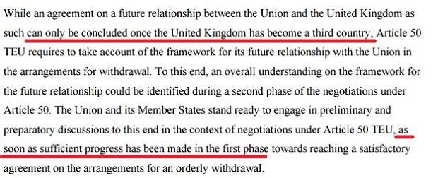 Fragment stanowiska Unii Europejskiej w sprawie rozmów o Brexicie