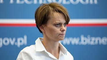 Minister przedsiębiorczości Jadwiga Emilewicz podczas konferencji prasowej w resorcie. Warszawa,26 lipca 2019