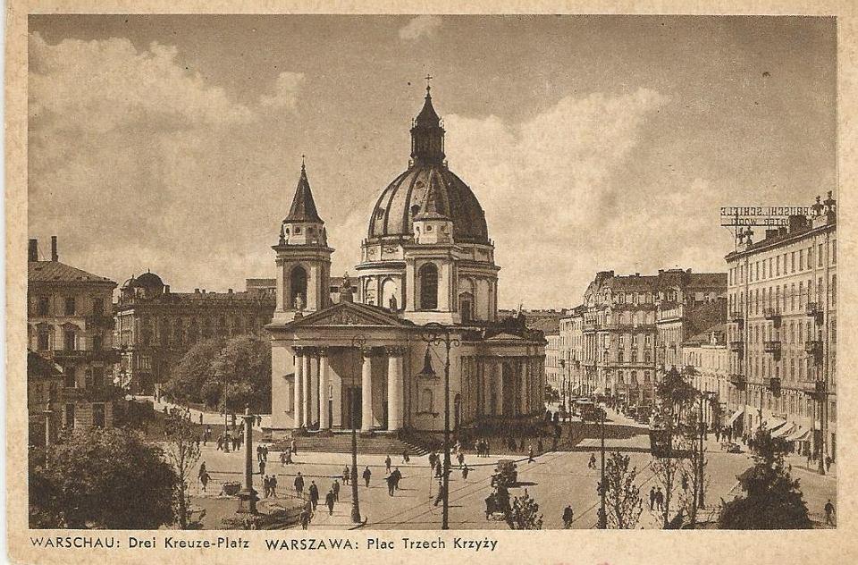 Plac Trzech Krzyży na pocztówce z czasów okupacji