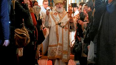 Metropolita miński i zasławski Paweł odprawia nabożeństwo wielkanocne w katedrze Ducha Świętego w Mińsku, 16 kwietnia 2017 r.