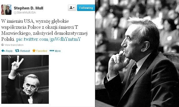 Twitt Ambasadora USA Stephena D. Mulla /Tadeusz Mazowiecki