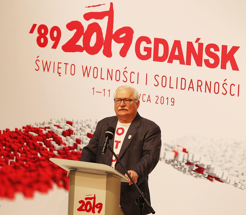 Lech Wałęsa podczas debaty w ECS w Gdańsku.