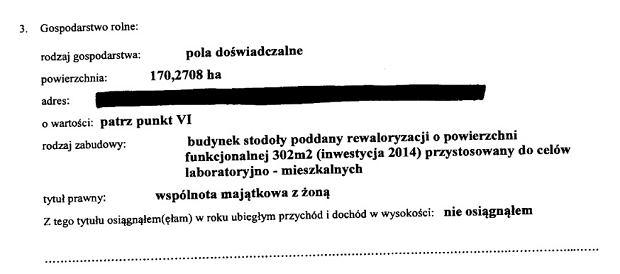 Fragment oświadczenia majątkowego Jana Szyszki