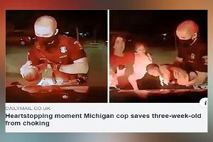 Policjant ratuje 3-tygodniowe dziecko przed uduszeniem się na oczach rodziny