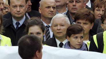 Prezes PiS Jarosław Kaczyński podczas marszu ''Obudź się Polsko''
