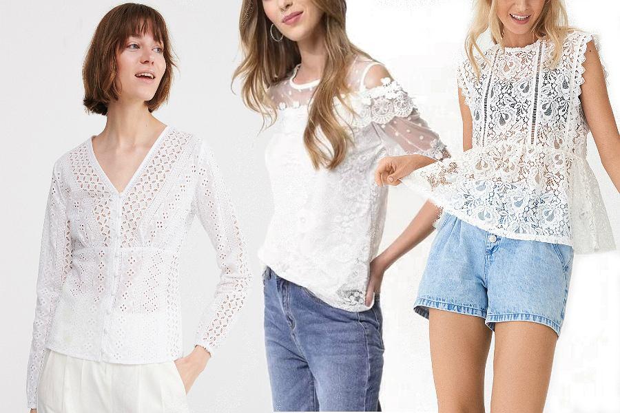 Białe bluzki koronkowe