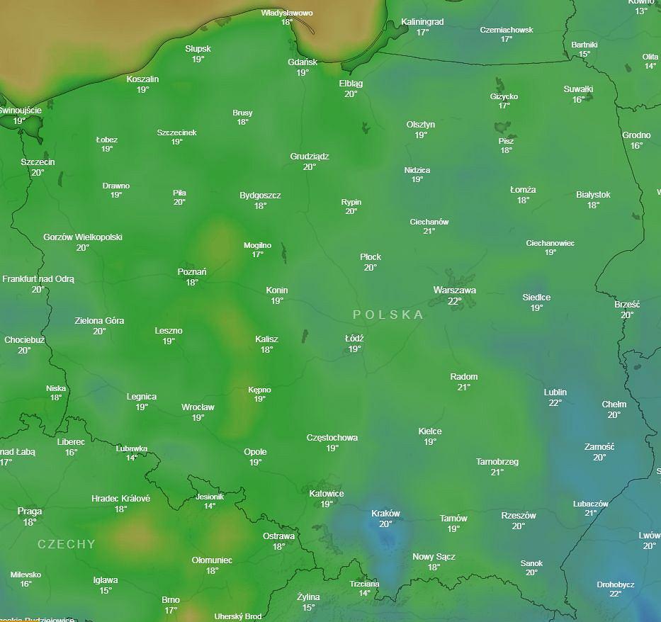 Temperatury w Polsce 30 października