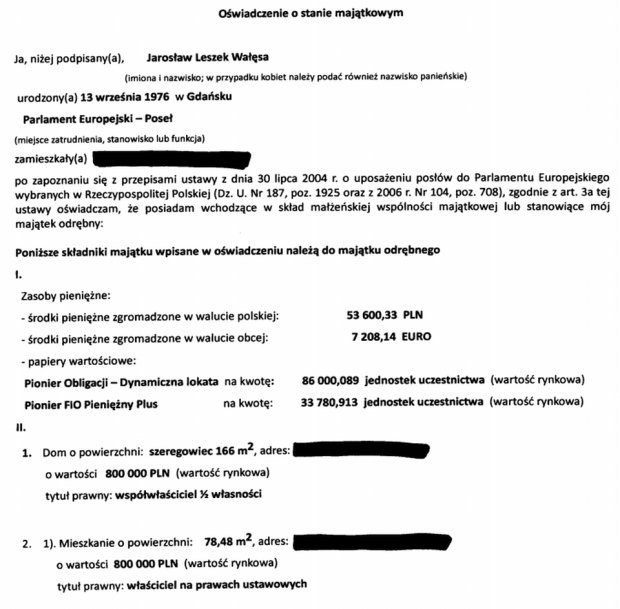 Oświadczenie majątkowe Jarosława Wałęsy