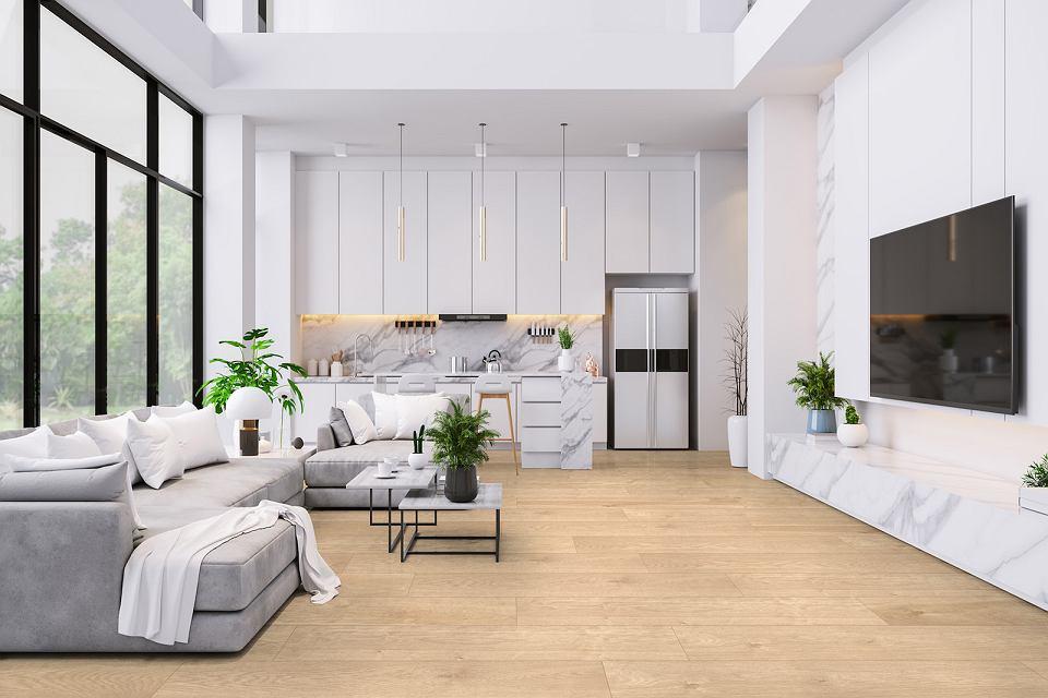 Nowoczesny salon udekorowany bielą, marmurem i drewnianymi panelami Rocko.