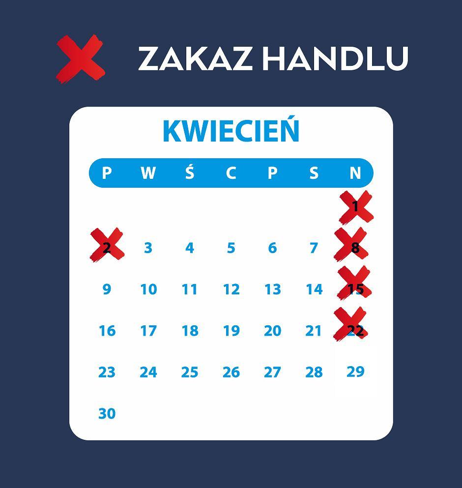 Zakaz handlu w niedzielę. Kwiecień 2018 - kalendarz