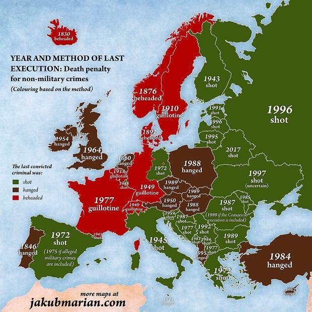 Ostatnie egzekucje w państwach Europy na przestrzeni lat
