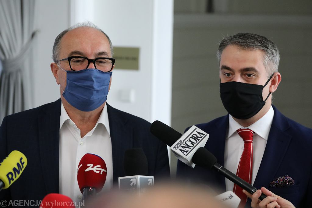 Włodzimierz Czarzasty podczas konferencji prasowej w Sejmie, 19 listopada 2020