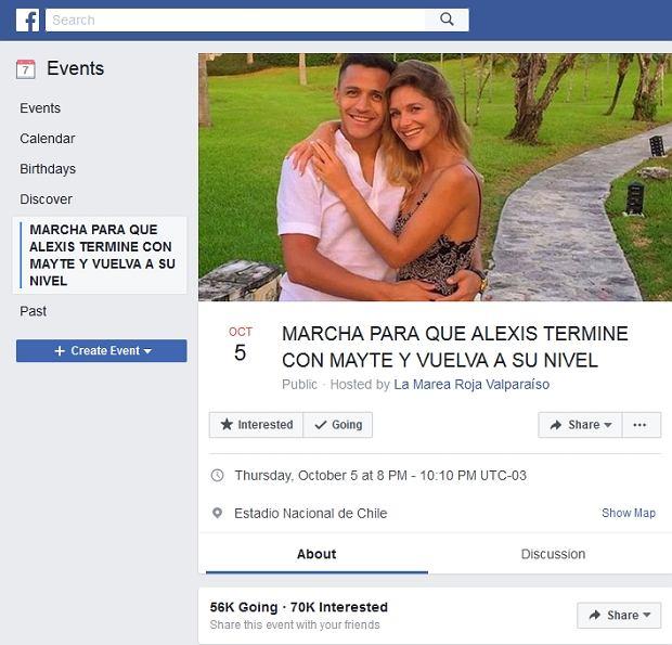 56 tys. kibiców chce wyjść na ulice Santiago 5 października, by wziąć udział w proteście, którego celem jest nakłonienie Alexisa Sancheza, gwiazdy Arsenalu i Barcelony, by rozstał się ze swoją dziewczyną Mayte, bo wtedy, ich zdaniem, odzyska formę.