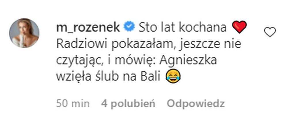 Rozenek komentuje zdjęcie Włodarczk