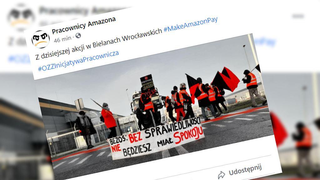 Protest pracowników Amazona w Bielanach Wrocławskich