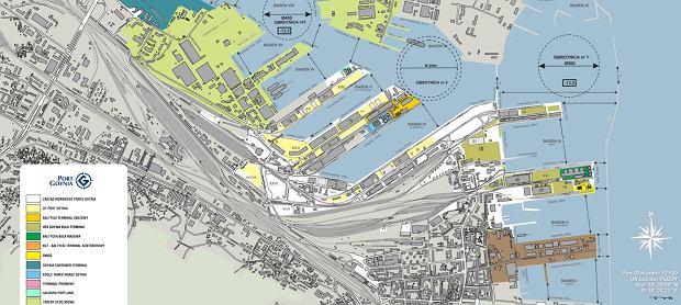 Współczesny oficjalny plan portu w Gdyni. Basen IV jest widoczny na środku