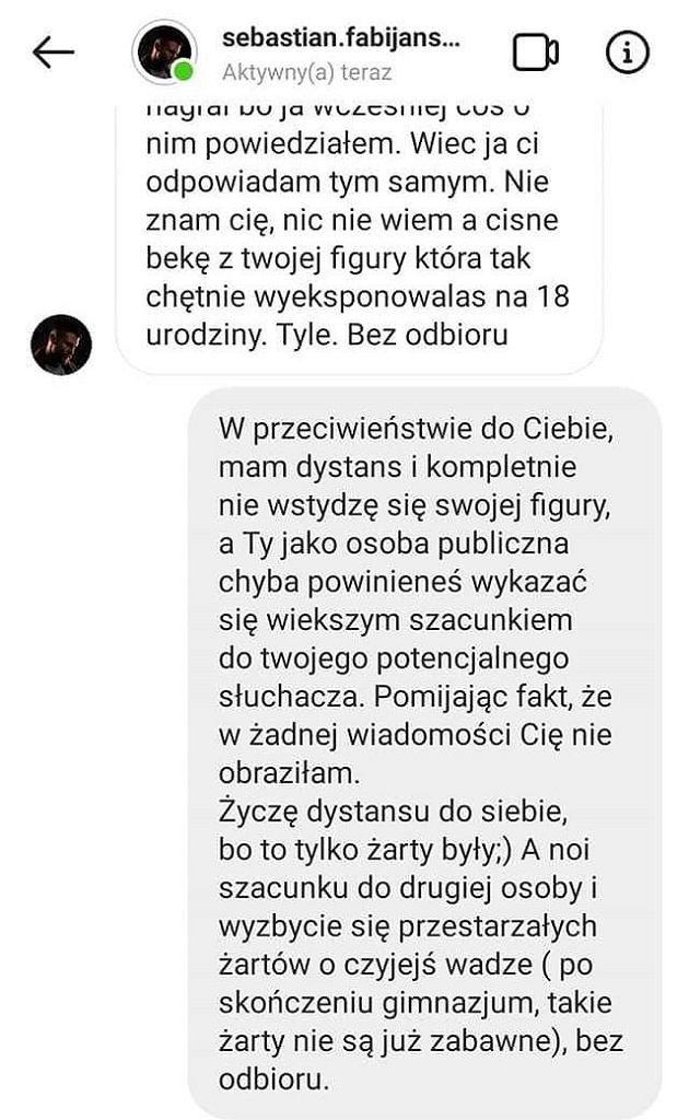 Screen rozmowy z Sebastianem Fabijańskim