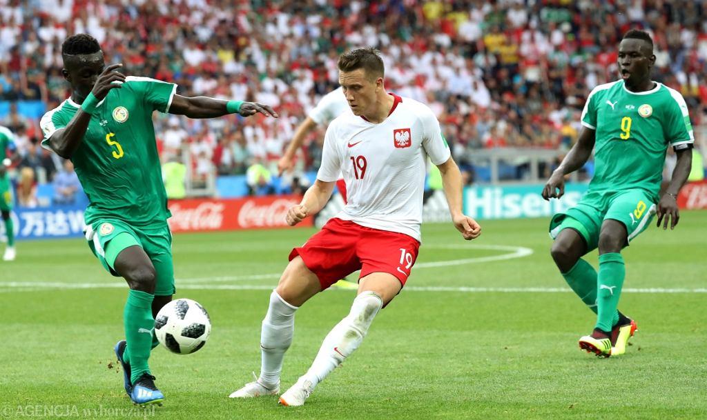 Piotr Zieliński w meczu Polska-Senegal. Mistrzostwa Świata w Piłce Nożnej w Rosji, Moskwa, Stadion Spartaka, 19 czerwca 2018