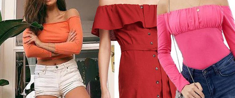 Bluzki i sukienki z odkrytymi ramionami. Uwaga! Są turbo kobiece. Wybrałyśmy niedrogie, ale robiące wrażenie