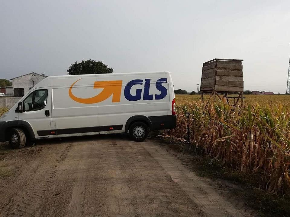 Auto z logo firmy kurierskiej GLS przewoziło ambonę