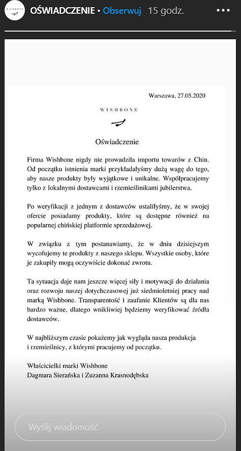 Oswiadczenie marki Wishbone