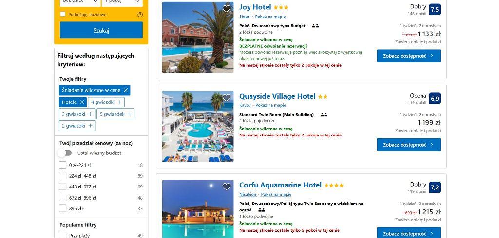 Koszty typowych tańszych hoteli na Korfu