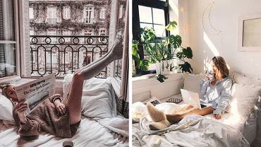 Dziewczyna leżąca w łóżku, leniwy dzień