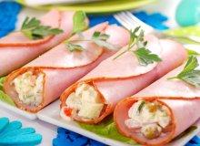 Szybka majonezowa sałatka jarzynowa w rulonach z szynki - ugotuj