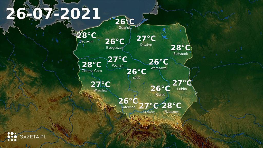 Pogoda na dziś - poniedziałek 26 lipca. Będzie ciepło i burzowo. IMGW wydał ostrzeżenia dla kilku województw