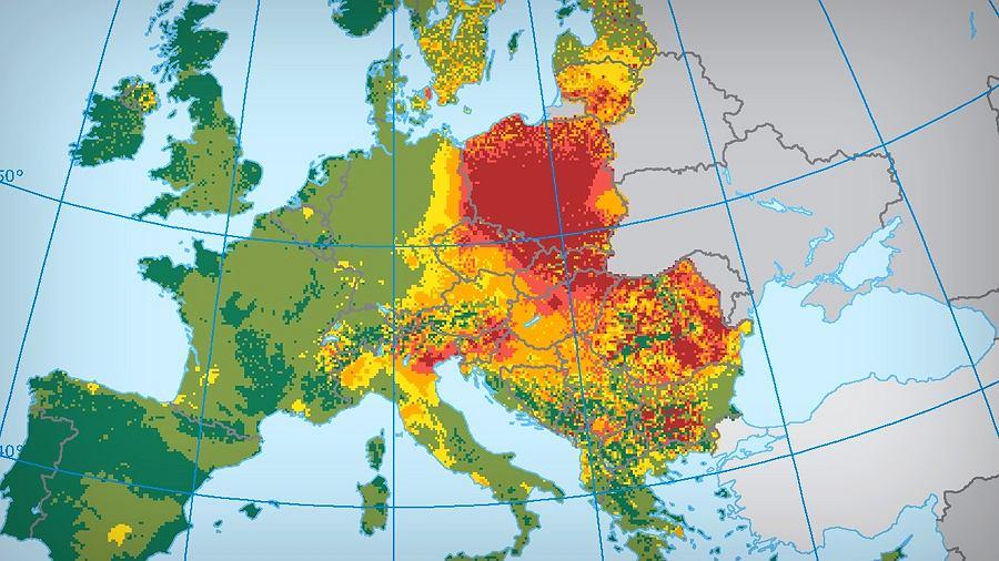 Stężenie rakotwórczego B[a]P w Europie w 2012 r.