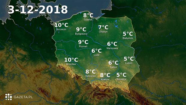 Pogoda na dziś. W poniedziałek 3 grudnia będzie bardzo ciepło