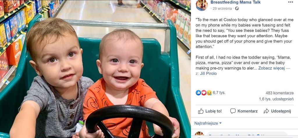 Mama została skrytykowana za to, że rozmawiała przez telefon z mężem przy dzieciach