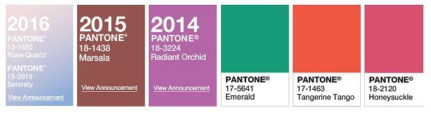 Kolory roku według Pantone - oś czasu 2011-2016