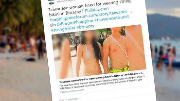 Kobieta została ukarana za zbyt skąpe bikini