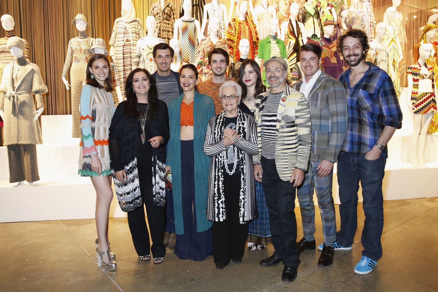 kLONDON, ENGLAND - MAY 04: Jennifer Missoni, Angela Missoni, Ottavio Missoni, Margherita Maccapani Missoni, Marco Missoni, Rosita Missoni, Teresa Maccapani Missoni, Luca Missoni, Giacommo Missoni and Francesco Maccapani Missoni attend the Missoni Art Colour preview in partnership with Woolmark at The Fashion and Textile Museum on May 4, 2016 in London, England.  (Photo by Darren Gerrish/WireImage) *** Local Caption *** Jennifer Missoni; Angela Missoni; Ottavio Missoni; Margherita Maccapani Missoni; Marco Missoni; Rosita Missoni; Teresa Maccapani Missoni; Luca Missoni; Giacommo Missoni; Francesco Maccapani Missoni