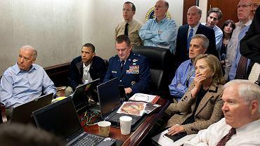 Przywództwo USA obserwujące na żywo przebieg misji mającej na celu zabicie Osamy bin Ladena