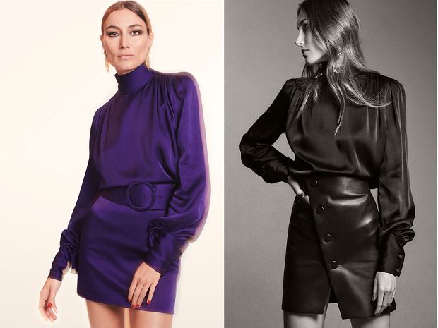 Satyna, marszczenia i mocno podkreślone ramiona - Zara świetnie interpretuje trendy lat 80.