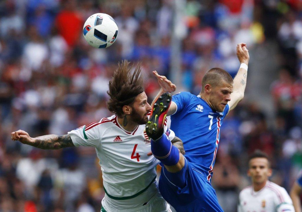 Euro 2016. Mecz Islandia - Węgry 1:1. Tamas Kadar z Lecha Poznań