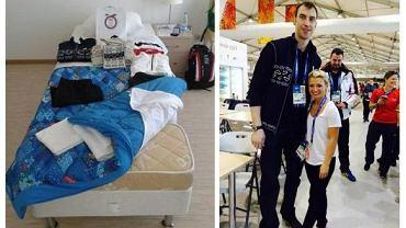 Przedłużone łózko Zdeno Chary i on sam z łyżwiarką Kirsten Moore-Towers