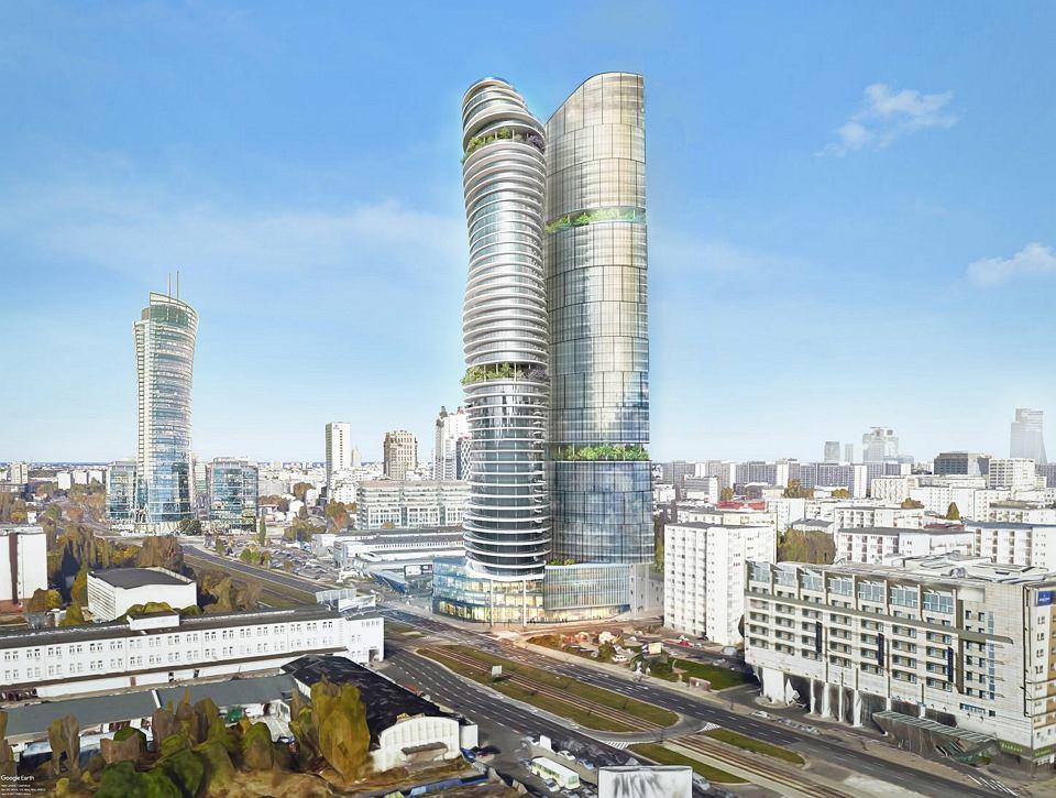 'Dwie wieże Kaczyńskiego' ('Srebrna Tower' vel 'K-Tower') wizualizacja wieżowców,  które spółka Srebrna chciała wybudować na działce przy ul. Srebrna.