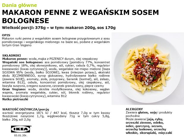 Makaron penne z wegańskim sosem bolognese od IKEI