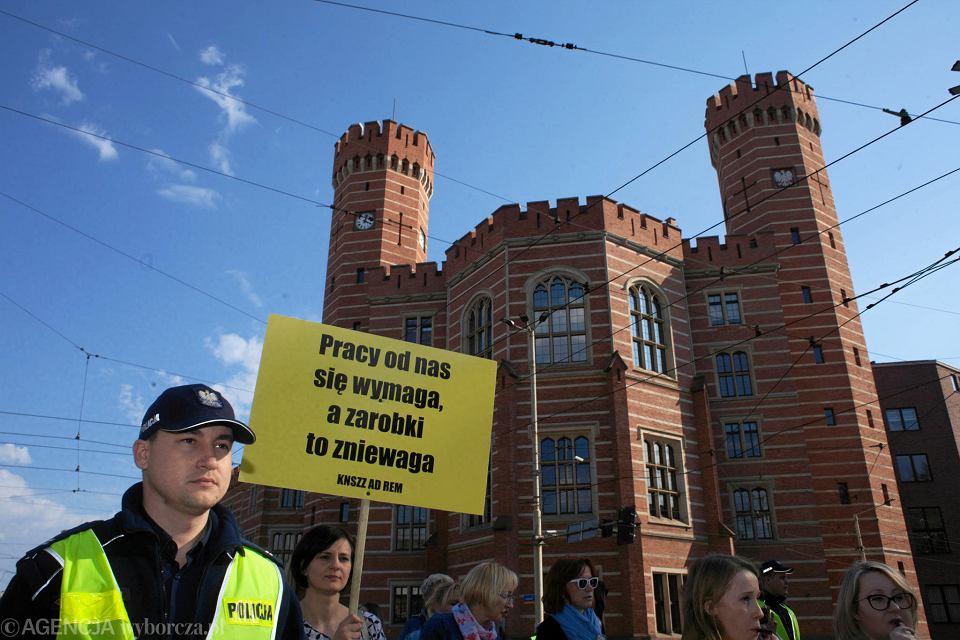 Protest pracowników sądów we Wrocławiu