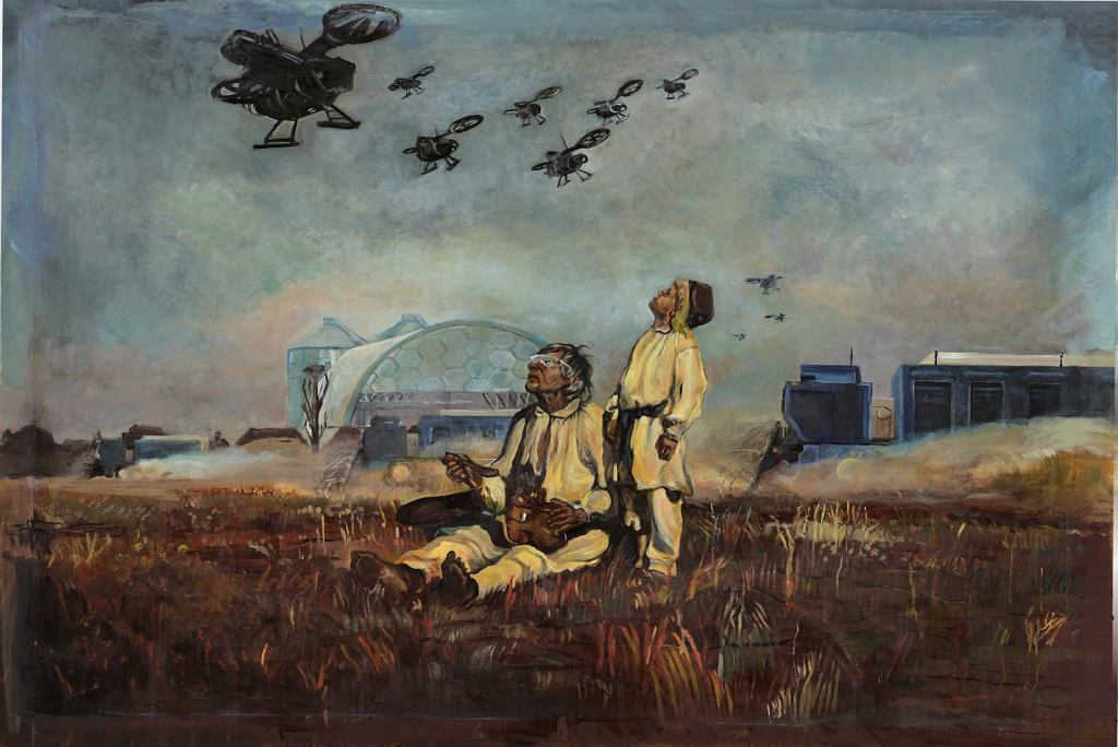 'Drony', obraz autorstwa Mai Kobylińskiej na bazie 'Bocianów' Józefa Chełmońskiego, projekty: studio 422post i Grzegorz Bobrowski