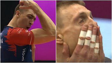 Łukasz Kaczmarek cieszy się (po lewej), a Jurij Gladyr nie dowierza (po prawej) w trakcie finału Pucharu Polski siatkarzy, w którym ZAKSA pokonała Jastrzębski Węgiel