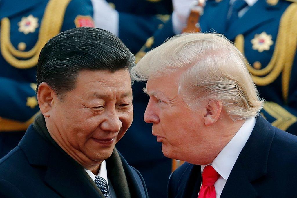 Prezydent Chin Xi Jinping i prezydent USA Donald Trump