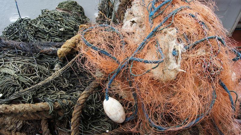 Wyłowione sieci rybackie