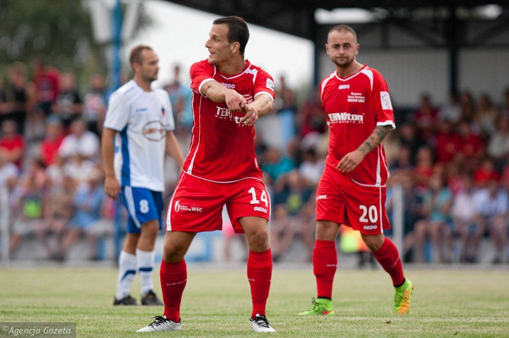 Zawisza Pajęczno - Widzew Łódź 0:1. Igor Świątkiewicz i Mariusz Rachubiński