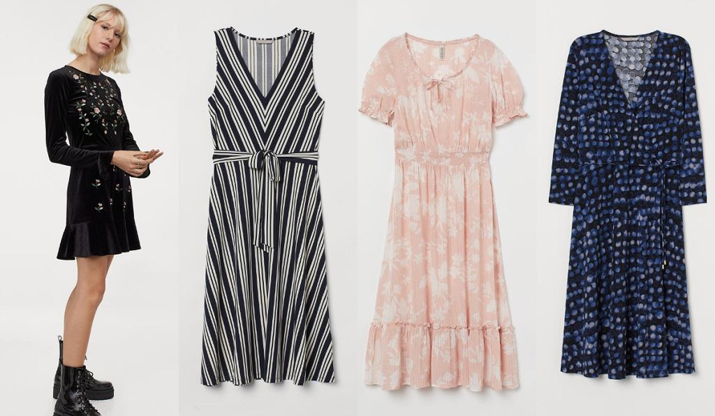 Wzorzyste sukienki H&M z wyprzedaży