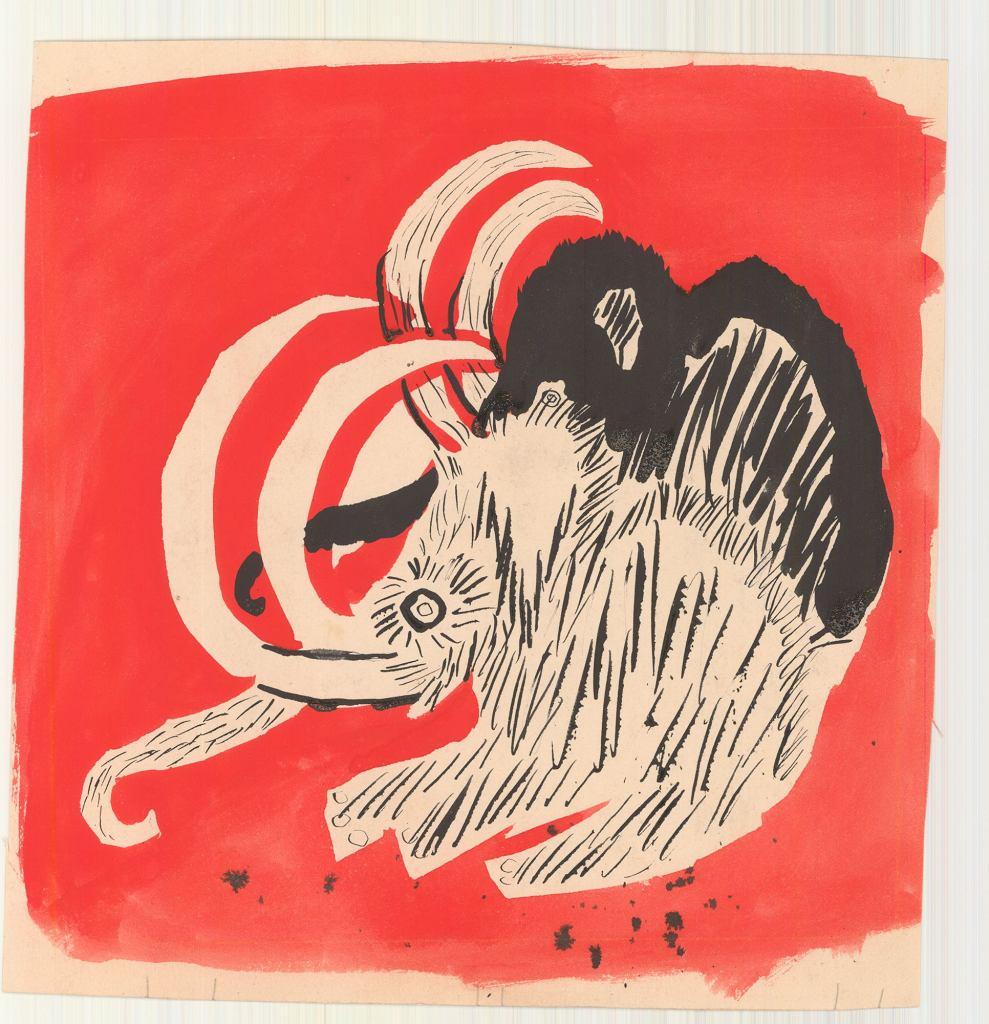 Józef Wilkoń, projekt  ilustracji do książki 'Dużo  śmiechu, trochę smutku, to  historia o mamutku' Wiktora  Woroszylskiego, 1961 / materiały prasowe