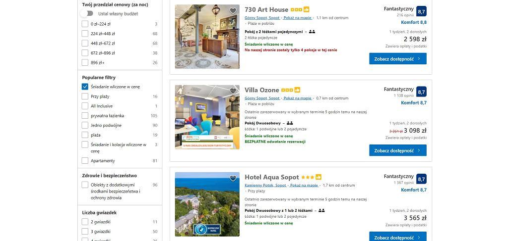 Ceny najtańszych hoteli w Sopocie